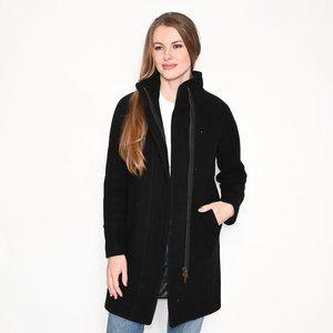 J. CREW Black Stadium-Cloth Wool-Blend Coat sz 0